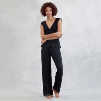 The White Company Lace V-Back Pyjama Set, Navy, Extra Small