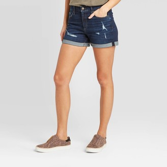 Universal Thread Women's High-Rise Distressed Jean Shorts - Universal ThreadͲ Dark Wash