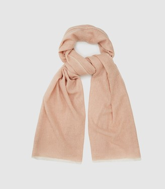 Reiss Marcia Scarf - Wool Cashmere Blend Scarf in Soft Pink