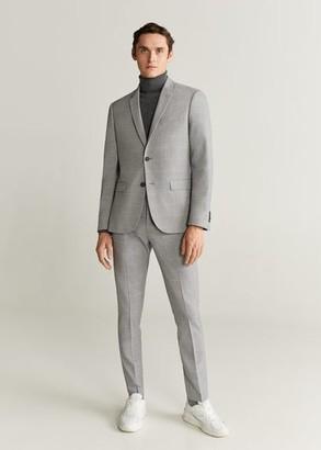 MANGO MAN - Super slim-fit checked Tailored blazer grey - 34 - Men