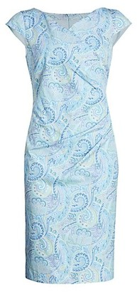 Max Mara Vosci Paisley Cap Sleeve Stretch Sheath Dress
