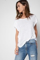 7 For All Mankind Linen Flutter Sleeve Tee In White