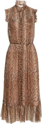 Zimmermann Botanica Python Print Metallic Silk Midi Dress