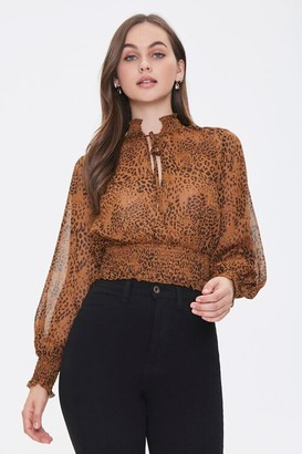 Forever 21 Leopard Print Chiffon Top