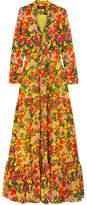 Saloni Alexia Tiered Floral-print Silk-chiffon Maxi Dress - Yellow