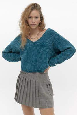 Urban Outfitters Kingston Chenille V-Neck Jumper - blue XS at