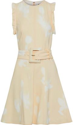 Proenza Schouler Belted Ruffle-trimmed Printed Stretch-cady Mini Dress