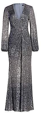 Badgley Mischka Women's Ombré Sequin Puff-Sleeve Drape Column Gown