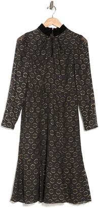 Donna Morgan Metallic Dot Long Sleeve Dress