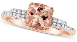 Macy's Morganite (1-1/4 ct. t.w.) and Diamond (1/10 ct. t.w.) Ring in 14K Rose Gold-Plated Sterling Silver