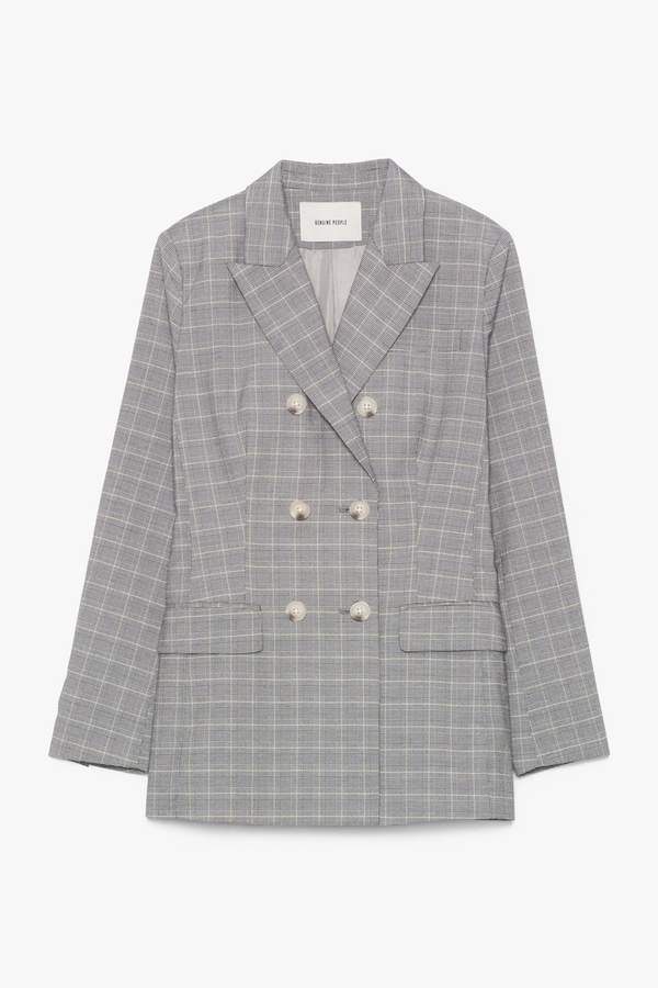 Genuine People Double-Breasted Plaid Jacket