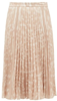 Burberry Rorsby Pleated Bambi-print Crepe Skirt - Beige