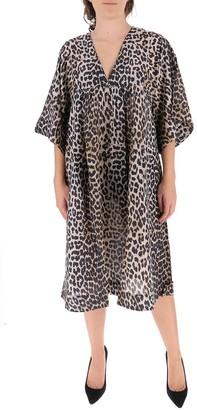 Ganni V-Neck Tent Midi Dress