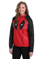 Mighty Fine womens Juniors Deadpool Side Zip Moto Jacket