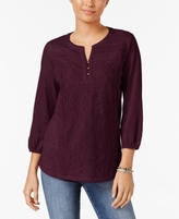 Style&Co. Style & Co Style & Co Petite Lace-Front Henley Top, Created for Macy's