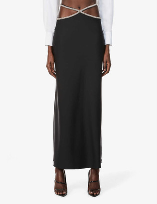 CHRISTOPHER ESBER Rhinestone-trimmed wool-blend high-waisted midi skirt