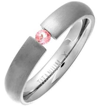 Theia Titanium Court Pink Sapphire Tension Matt 4.5 mm Ring - Size Y