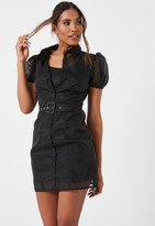 Missguided Black Organza Belted Puff Sleeve Shirt Dress