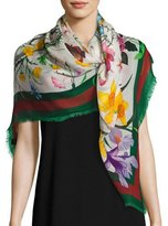 Gucci Flora Web Wool & Silk Shawl, Ivory/Green
