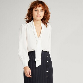 Naf Naf Pussy-Bow Blouse with Long Sleeves