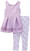 Juicy Couture Laser Cut Scuba Tunic & Printed Legging Set (Toddler Girls)