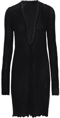 Ann Demeulemeester Distressed Ribbed Mohair, Alpaca And Silk-blend Cardigan