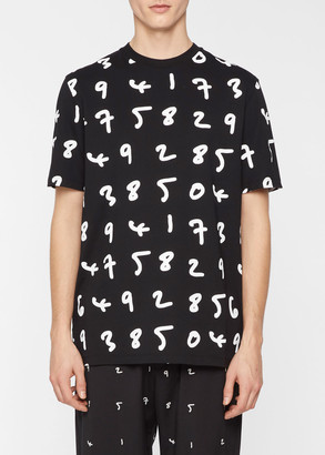 Paul Smith Men's Black Oversized 'Numbers' Print T-Shirt