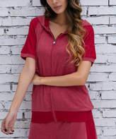 Z Avenue Women's Sweatshirts and Hoodies Red - Red Short-Sleeve Zip-Up Hoodie - Women & Plus