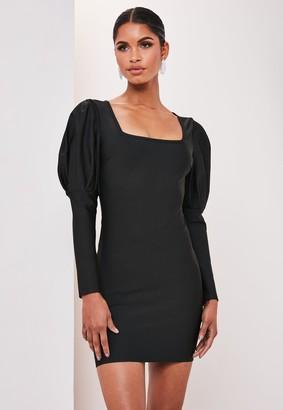 Missguided Premium Black Bandage Puff Sleeve Mini Dress