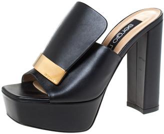 Sergio Rossi Black Leather SR1 Platform Slide Mules Size 36