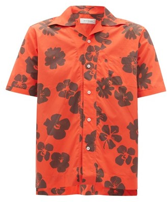 Wales Bonner Hibiscus-print Cuban-collar Cotton-poplin Shirt - Red Multi