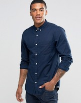 Pull&Bear Oxford Shirt In Navy Blue In Regular Fit