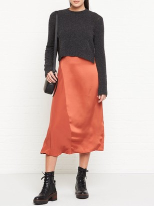 AllSaints Ageta Layered Jumper And Slip Dress - Grey/Rust