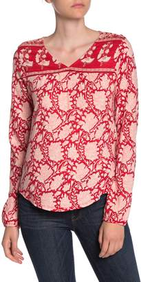 Lucky Brand Long Sleeve Floral Print V-Neck Top