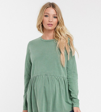 Asos DESIGN Maternity smock top with long sleeve in wash