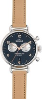 Shinola The Canfield Chronograph Leather Strap Watch, 38mm