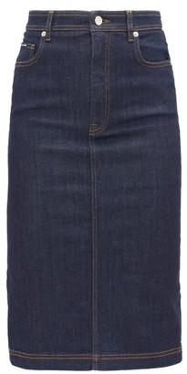 Dolce & Gabbana High-rise Denim Pencil Skirt - Womens - Dark Blue