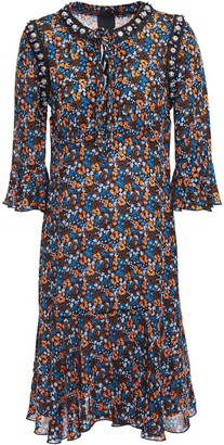 Anna Sui Ruffled Embellished Floral-print Crepe De Chine Dress