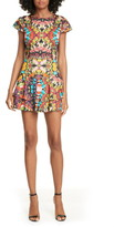 Alice + Olivia Ainsley Floral Double Ruffle Stretch Cotton Minidress