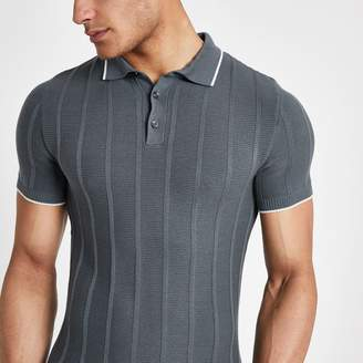 River Island Mens Grey knitted stitch muscle fit polo shirt