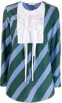 Tory Burch overprinted tie-front top