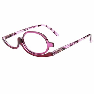 Milya make-up glasses rotatable flip up glasses rotatable reading glasses presbyopia glasses visual aid reading aid with strength - Purple - 3.5