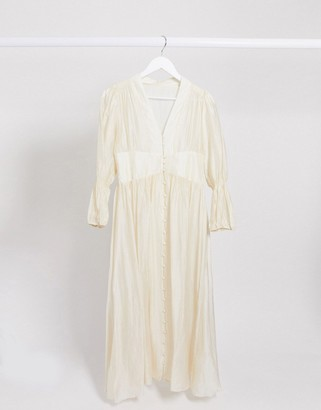 GHOSPELL button front sheer maxi dress