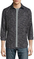 John Varvatos Camo-Print Button-Down Shirt Jacket, Coal