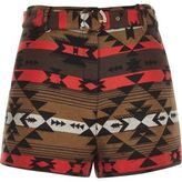 River Island Womens Brown geo jacquard high waisted belted shorts