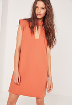 Missguided Buckle Neck Shift Dress Orange