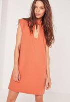 Missguided Buckle Neck Shift Dress Orange