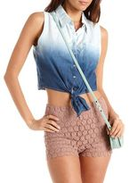 Charlotte Russe Ombre Tie-Front Chambray Top
