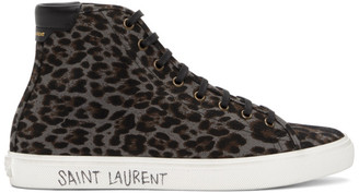 Saint Laurent Grey and Black Print Malibu High-Top Sneakers