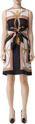 Burberry Scarf-Print Silk Tie-Waist Dress